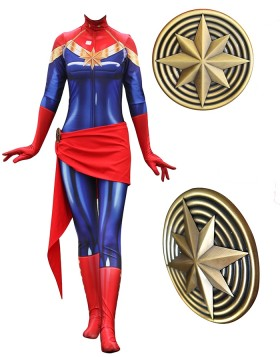 Captain Marvel Costume Super Hero Cosplay Jumpsuit for Women
