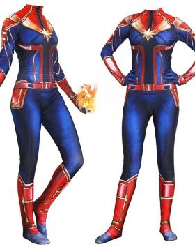 Super Hero Captain Marvel Costume for Women Halloween Cosplay