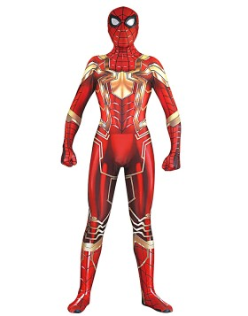 3D Print Gold Spiderman Halloween Jumpsuit Cosplay Costume  for Men