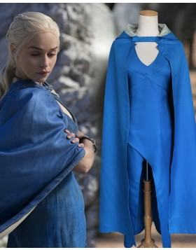 Game Of Thrones Blue Queen Daenerys Targaryen Cosplay Costume For Woman With Cloak