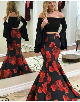 Off the Shoulder Two Piece Satin Black Floral Print Mermaid Prom Dress with Bell Sleeves pd1501