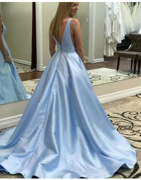 Simple Sky Blue V-neck Satin Long Prom Dress with Pockets pd1503