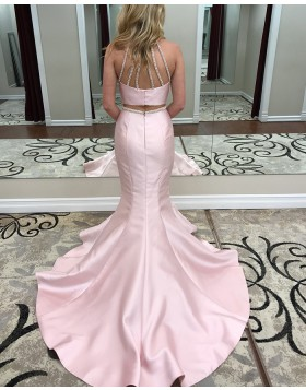 High Neck Two Piece Satin Pink Beading Mermaid Prom Dress pd1504