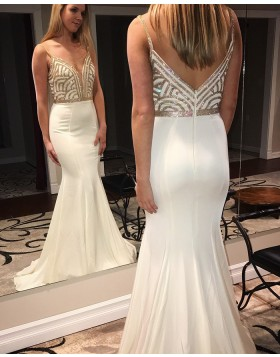 Spaghetti Straps Sequin Pattern Bodice Mermaid White Prom Dress pd1505