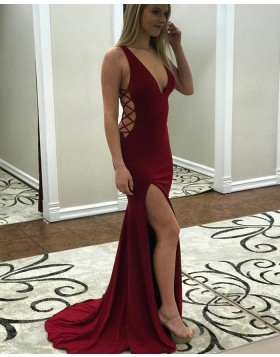 Deep V-neck Burgundy Mermaid Style Prom Dress with Side Slit pd1506