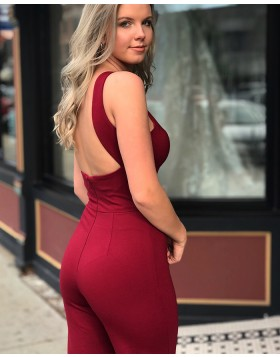Crisscross Red Satin Bodycon Long Jumpsuit with Open Back pd1511