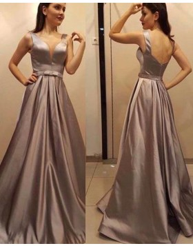 Deep V-neck Satin Pleated Brown Prom Dress with Open Back pd1512