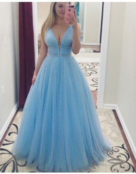 Beading Light Blue Deep V-neck Tulle Pleated Prom Dress pd1514