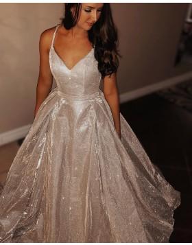 Metallic Sparkle Spaghetti Straps Pleated Champagne Long Prom Dress pd1515