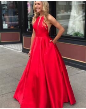 Jewel Neck Red Pleated Long Satin Prom Dress with Pockets pd1517