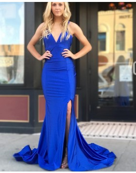 Simple V-neck Royal Blue Mermaid Satin Prom Dress with Side Slit pd1518