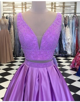 Two Piece Lavender Beading Bodice Satin Pleated Prom Dress pd1525