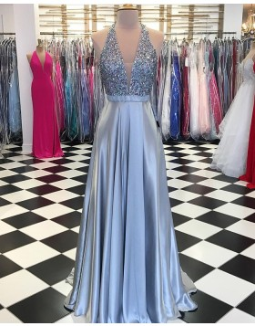 Halter Beading Bodice Sky Blue Pleated Satin Prom Dress pd1528