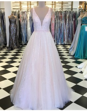 Deep V-neck Sequin Light Pink Pleated Prom Dress with Handmade Flowers pd1530