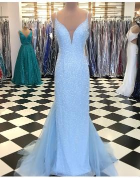 V-neck Sky Blue Sequin Tulle Mermaid Long Prom Dress pd1531