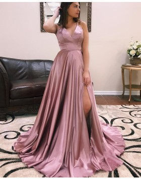 Spaghetti Straps Simple Satin Prom Dress with Side Slit pd1532