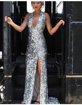 Halter Silver Sequin Mermaid Style Prom Dress with Side Slit pd1533