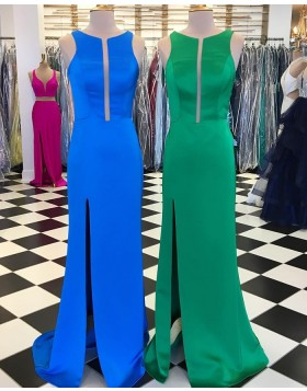 Jewel Satin Simple Sheath Long Prom Dress with Side Slit pd1534