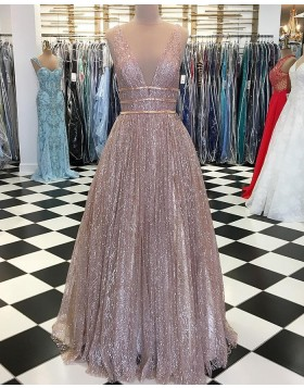 Deep V-neck Sparkle Sequin Pleated Long Prom Dress pd1535