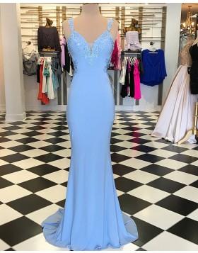 Square Appliqued Blue Mermaid Satin Long Prom Dress pd1537