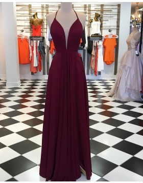 5e9332abfdf Simple Spaghetti Straps Burgundy Pleated Prom Dress with Side Slit pd1538  ...