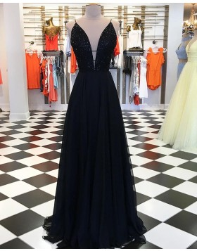 Spaghetti Straps Beading Bodice Black Satin Prom Dress pd1539