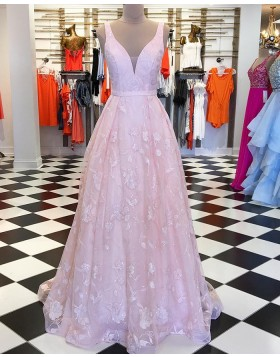 V-neck Pink Lace Pleated Long Prom Dress pd1540
