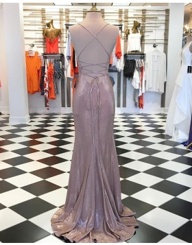 Spaghetti Straps Rose Gold Metallic Mermaid Prom Dress with Side Slit pd1546
