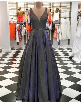 Elegant Metallic V-neck Pleated Long Prom Dress pd1548