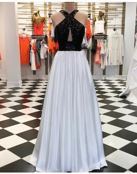 Black and White Sequin Pleated Long Prom Dress pd1549