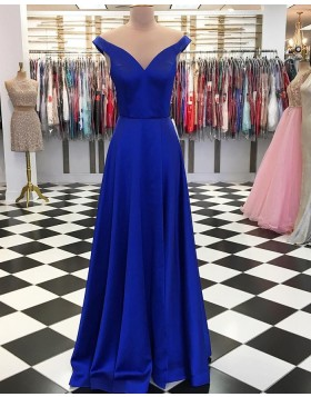 Simple Off the Shoulder Satin Royal Blue Long Prom Dress pd1551