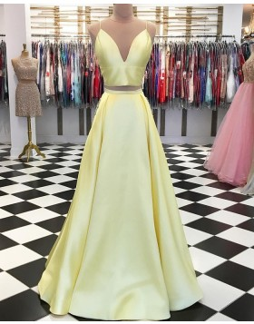 Two Piece Spaghetti Straps Yellow Simple Pleated Long Prom Dress pd1553