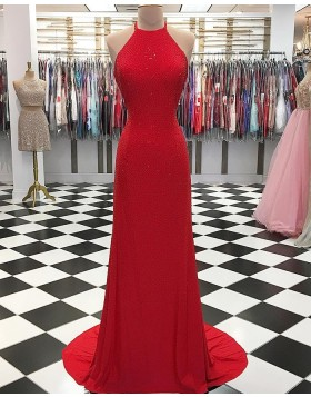 Halter Neck Sparkle Beading Red Long Sheath Prom Dress pd1554