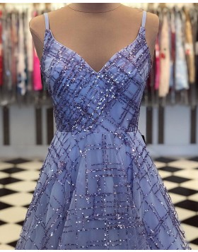 Spaghetti Straps Sequin Pattern Blue Sparkle Prom Dress pd1555