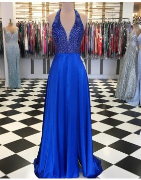 Halter Beading Bodice Blue Long Prom Dress pd1557