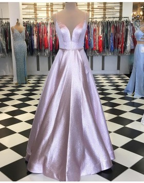 Spaghetti Straps Sparkle Pink Metallic Ball Gown Prom Dress pd1558