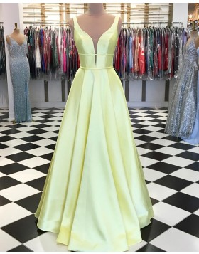 Simple V-neck Yellow Satin Pleated Long Prom Dress pd1559
