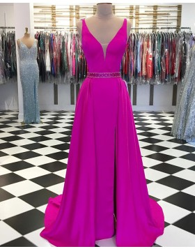 V-neck Satin Rose Red Long Prom Dress with Side Slit pd1560