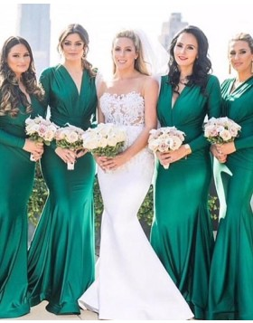 V-neck Ruched Satin Green Bridesmaid Dress with Long Sleeves pd1562