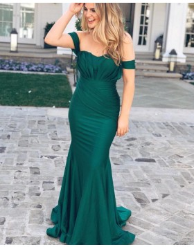 Simple Green Off the Shoulder Pleated Mermaid Style Prom Dress pd1563