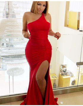 One Shoulder Red Ruched Mermaid Prom Dress with Side Slit pd1564