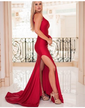 Simple Jewel Satin Red Mermaid Prom Dress with One Side Sleeve pd1565