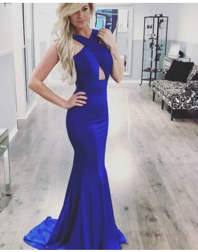 Halter Crisscross Satin Blue Mermaid Prom Dress pd1566