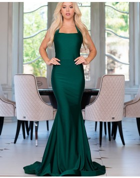 Halter Simple Satin Green Mermaid Style Prom Dress pd1568