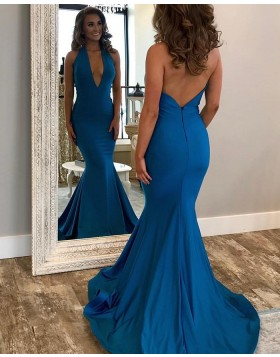 Simple Halter Satin Mermaid Style Long Prom Dress pd1570