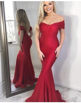 Simple Off the Shoulder Ruched Red Satin Mermaid Prom Dress pd1571