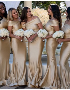 Off the Shoulder Champagne Satin Mermaid Bridesmaid Dress pd1572
