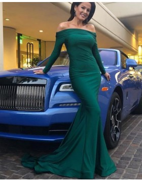 Simple Green Off the Shoulder Satin Evening Dress with Long Sleeves pd1574