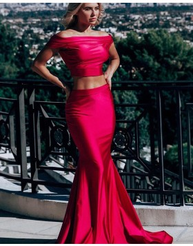 075392bef28 Simple Two Piece Off the Shoulder Red Satin Mermaid Prom Dress pd1575