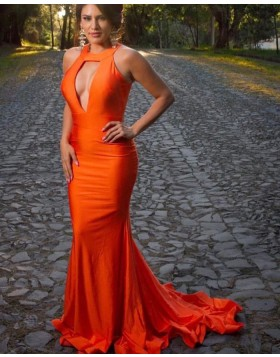 Simple High Neck Orange Cutout Satin Mermaid Prom Dress pd1576